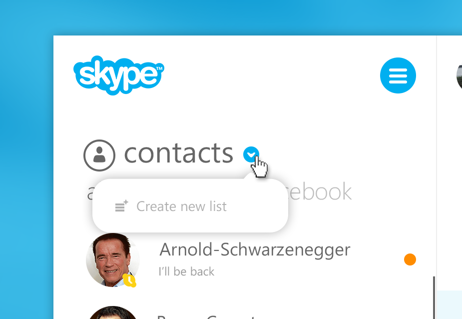 Skype - lists