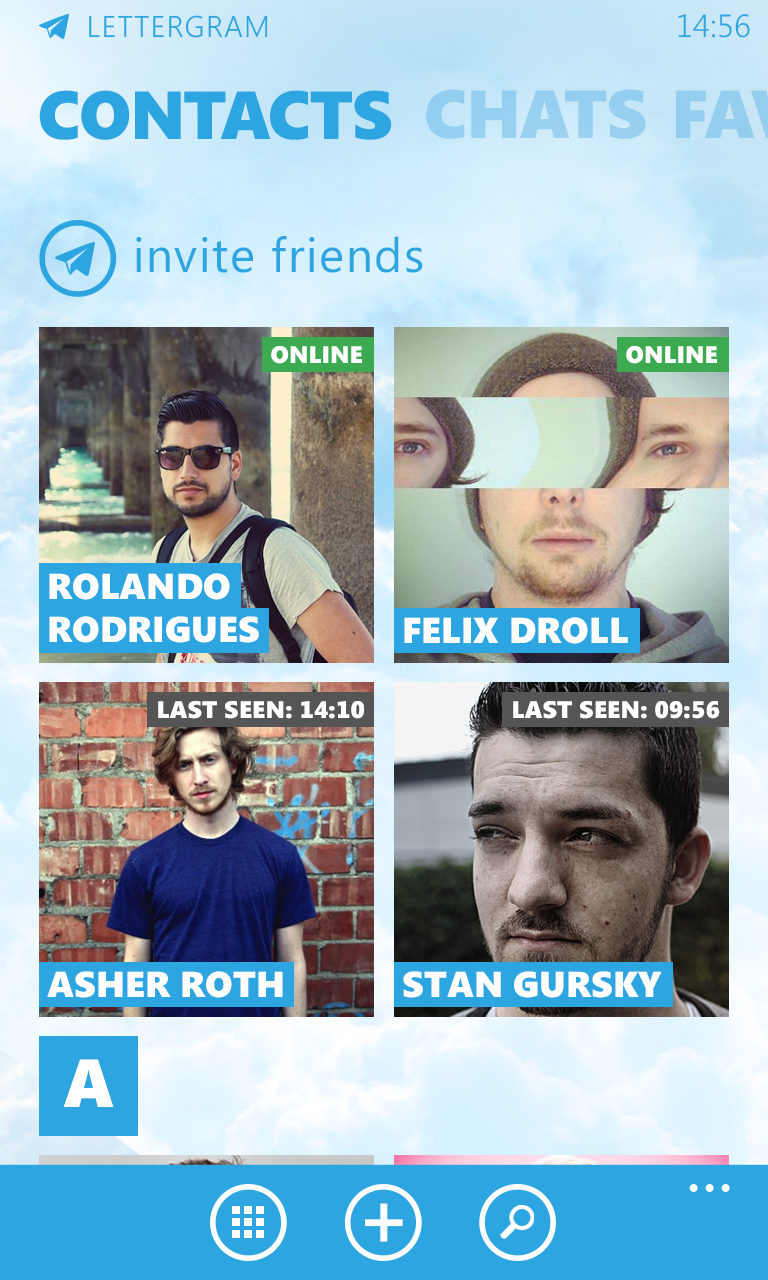 Telegram - Contacts 2x2 view