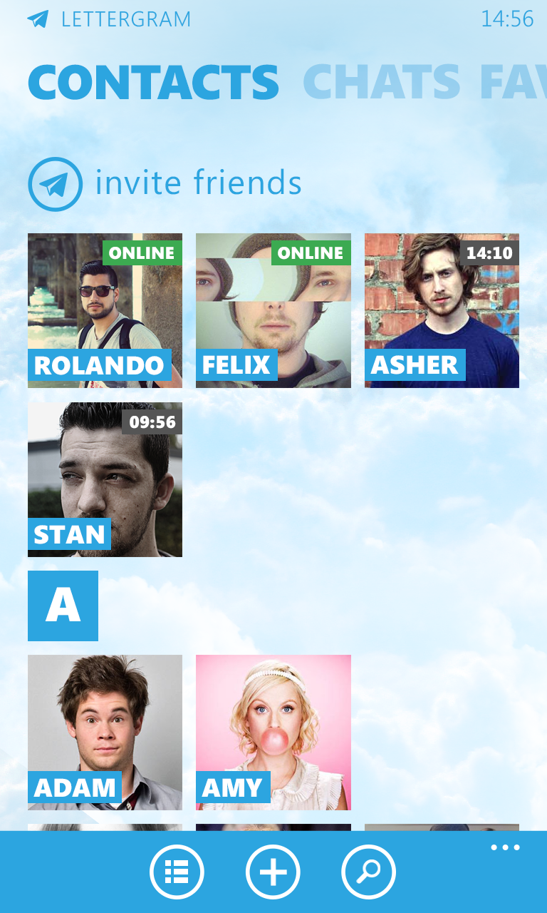 Telegram - Contacts 3x3 view