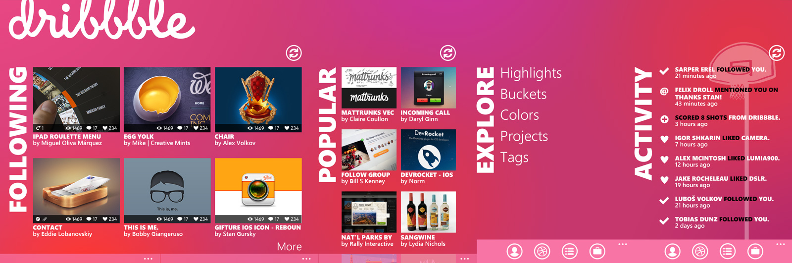 Dribbble for Windows Phone 7